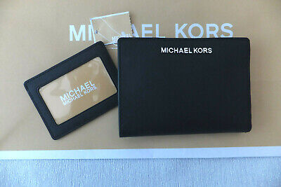 Michael Kors Black Saffiano Leather Jet Set Travel Card Wallet Purse RRP £135