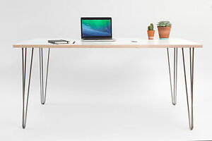 Retro hairpin desk formica birch plywood 28 mid century for Plywood table hairpin legs