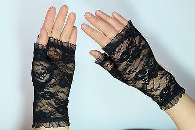 Gothic Netz Handschuhe schwarz halb Spitze Lolita Kostüm Gloves stretch - Spitze Kostüm Handschuhe