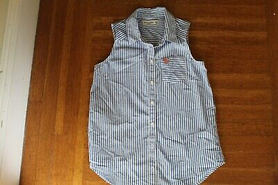Girls Abercrombie Kids sleeveless blue/wh stripe cotton button shirt size 13-14