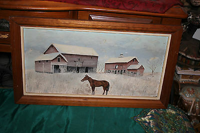 Vintage Horse Oil Painting-Barn Farm Snowy Fields-Signed-Country Decor-Folk Art