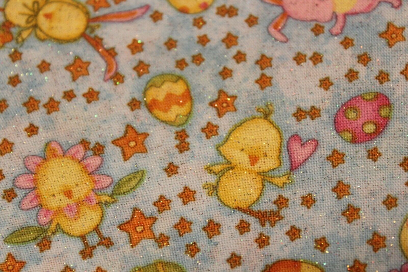 Sewing Fabric Quilt Cotton 44 X 1/2 Yd Easter Eggs Bunny Duckling Sparkle Blue - $6.99