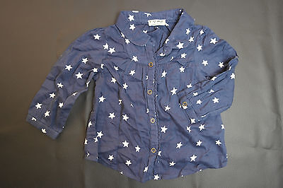 Englandmode Bluse Baby Mädchen Gr. 74 80 NEXT Bluse blau weiß sterne tunika
