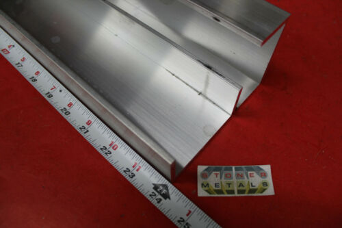 "2 Pieces 2-1/4"" x 1"" x 1/8"" Wall 6061 T6 ALUMINUM CHANNEL 24"" long Mill Stock"
