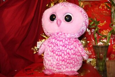 "TY BEANIE BOOS JUMBO PINKY THE PINK OWL.16"".2016 RELEASE.RETIRED?MWNMT.NICE GIFT"