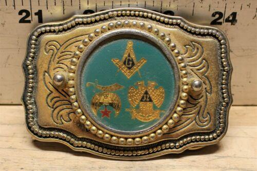 Vintage Freemason Brass Belt Buckle With Three Masonic Symbols