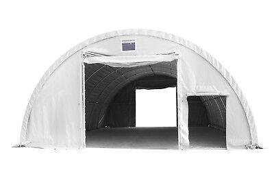 Rundbogenzelt -Halle Lagerzelt Lagerhalle 9,15mB x 12mL 4,5mH PVC weiß 720g/m²