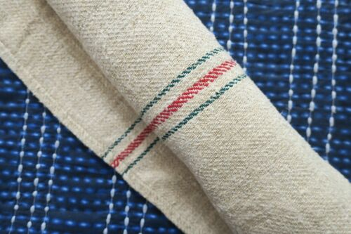 Antique European Hemp Grain Sack Gorgeous Christmas Red and Green Stripes