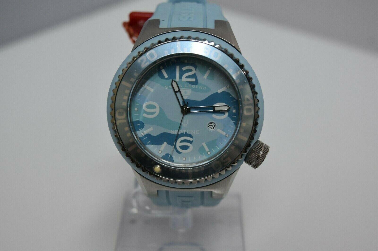 Swiss Legend Neptune Swiss Oversized 52mm Watch Blue/SS/Blue Camo