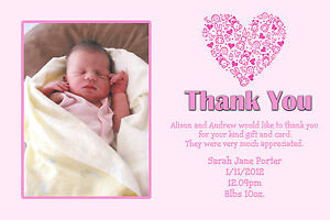 Personalised Baby Photo Thank You Cards. Packs 10,20,30,40,50.