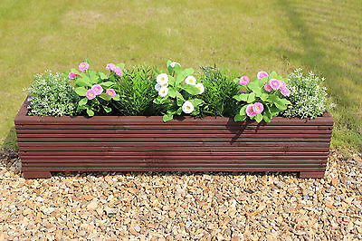 Brown 100x22x23 (cm) Wooden Garden Trough Planter or Plant Pots