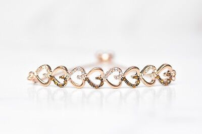 FLEXIBLE 14K WHITE ROSE YELLOW GOLD PAVE BROWN Crystal OPEN BANGLE CUFF BRACELET
