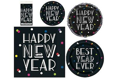 Best Year Ever, New Years Eve Party Plates Napkins Tablecover Black