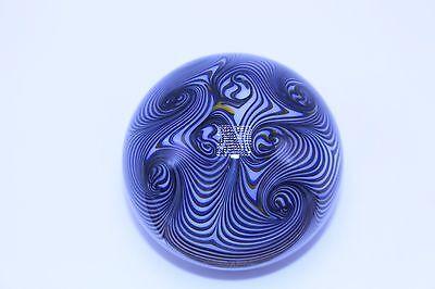 Smyers 1975 Northern Star Art Glass Paperweight Blue and Yellow Swirl Pattern