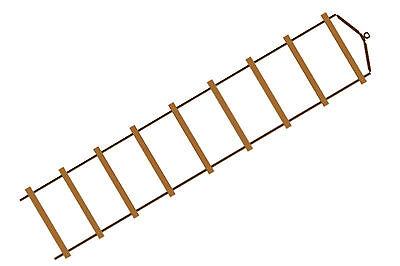 XXL 3,4m lange Strickleiter für Baumhaus mit 9 Sprossen Kletterseil Spielturm
