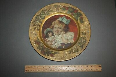 VINTAGE GIRL AND DOLL LITHO ADVERTISING TRAY PLATE CHARGER