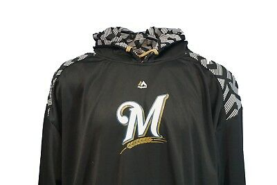 - Milwaukee Brewers MLB Majestic Pullover Hoodie, Black, Mens, Big & Tall, Nwt