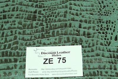 Beautiful Fresh Thyme Green CROC Print Craft Leather Piece 15