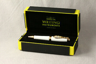 INVICTA BOLT TWIST ACTION BALLPOINT PEN WHITE / GOLD TRIM NEW IN (Action Gold Ballpoint Pen)