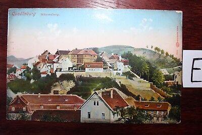 Postkarte Ansichtskarte Sachsen-Anhalt Lithografie Quedlinburg Münzenberg