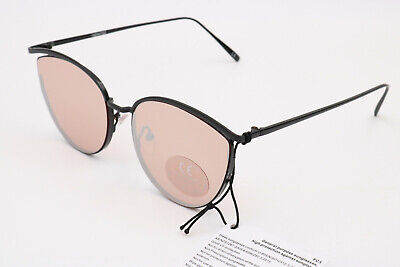 ASOS DESIGN – Katzenaugen-Sonnenbrille in Mattschwarz mit rosegoldenen Gläsern
