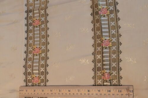 French Antique c1870 Silk Brocade Fabric~Pink Roses & Heavy Gold Metallic Stripe