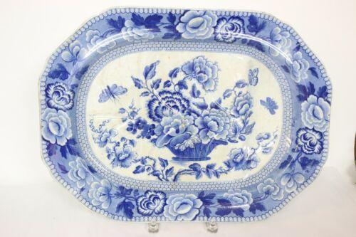 English Flow Blue Victorian Rose Meat Platter 1840-1860