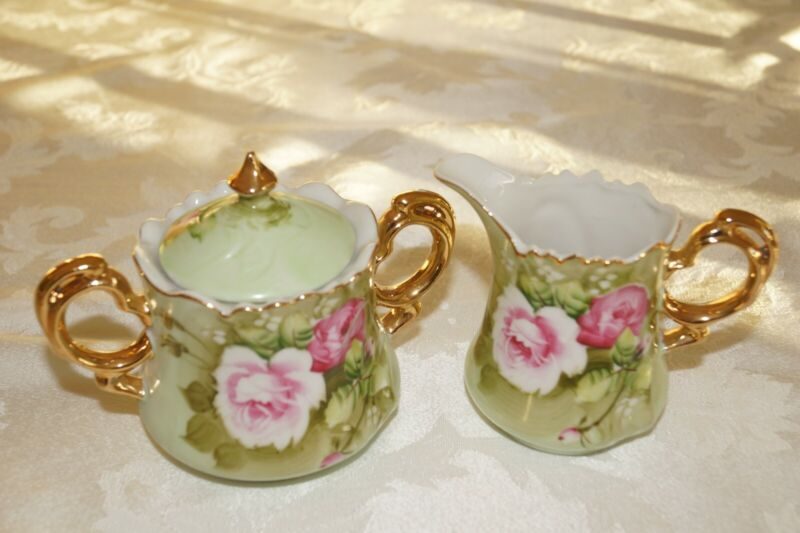 Lefton Green Heritage Creamer and Sugar with Lid