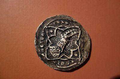 Antik groß Siegel Abguß ( Wappen mit Ritterhelm, Petschaft Mittelalter Ritter )
