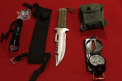 LED LIGHT SURVIVAL GEAR COMPASS KNIFE FISHING HUNTING HIKING CAMPING MILITARY