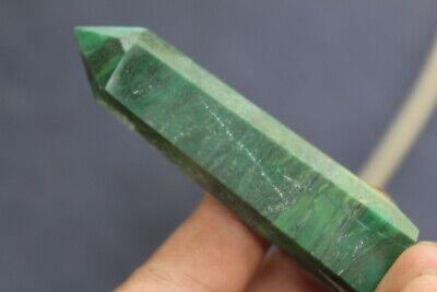 56g Natural  GREEN Malachite Quartz Crystal Wand Point Healing