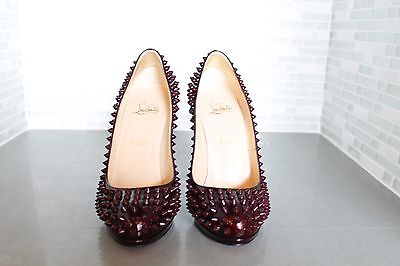 Christian Louboutin Alti Spiked Heels Patent Leather Burgundy Size 39