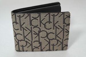 Calvin Klein 100% authentic Fabric & Leather 3 fold Brown  wallet