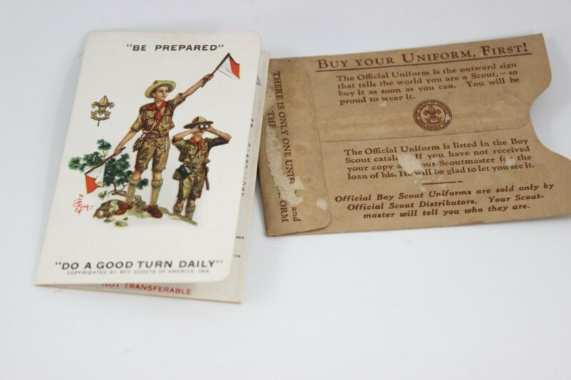 ANTIQUE/VINTAGE 1936 BOY SCOUTS MEMBERSHIP CARD WITH SLEEVE