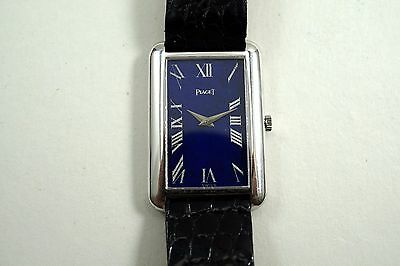 PIAGET 9228 RECTANGLE 18K WHITE GOLD ORIGINAL LAPIS DIAL w/DEPLOYMENT C.1973!!