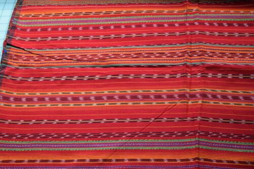 KT9  3 1/4 yds handwoven Central American fabric, red, multicolor narrow stripes
