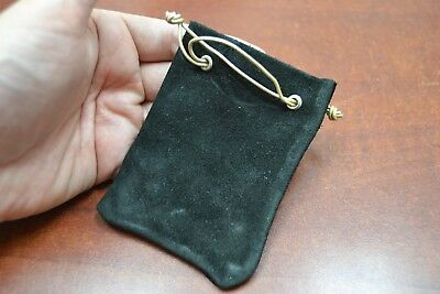 Black Handmade Drawstring Leather Jewelry Gift Pouches Bags 3 X 4