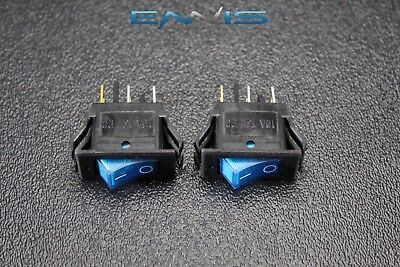 2 Pcs Rocker Switch On Off Mini Toggle Blue Led 12v 16 Amp Mount Hole Ec-1220bl