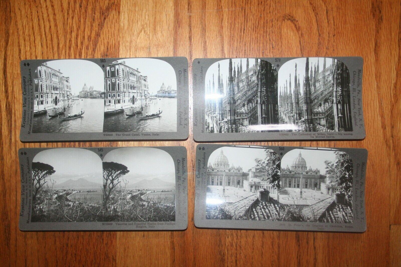 4 Stereo Cards/Stereoviews. Views Of Italy, 1920s - $5.00