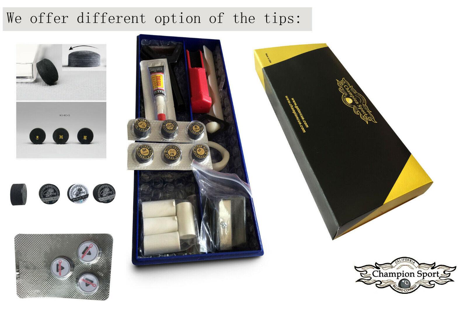 Premium Pool Cue Repair Tip Kit-1 Tip Clamp, 2 Cue Tip Shape