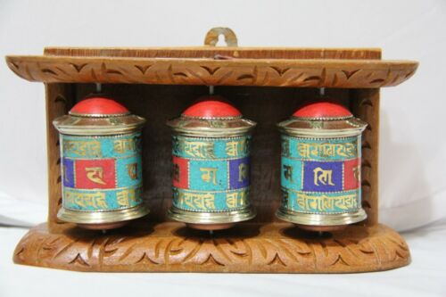 Tibetan Buddhist Handcrafted Spinning Prayer Triple Wheel Wall Hanging ~ Nepal