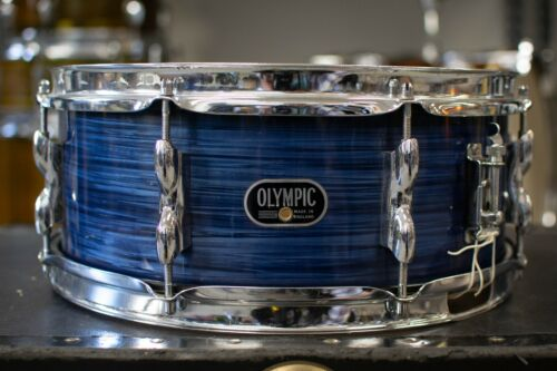 """1970s Premier 5x14 """"Olympic"""" Blue Silk Pearl Snare Drum"""