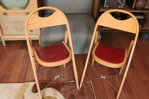 Pair of Vintage Wooden Folding Chairs with Vinyl Seat