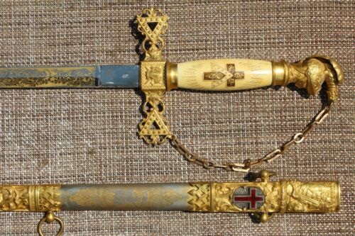 BEAUTIFUL ORNATE ANTIQUE MASONIC GOLD GUILT CEREMONIAL SWORD w/ SCABBARD