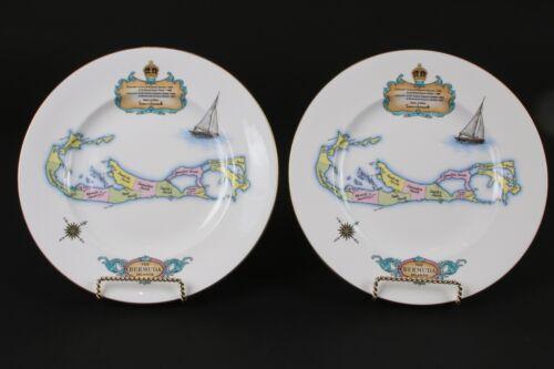 Vintage Pair of Bermuda Map Plates