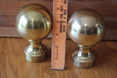 "2 Brass Finial round ball toppers Vintage 5"" Cast brass stair post newel top"