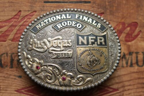 Gist Sterling Silver Overlay National Finals Rodeo NFR Cowboy Trophy Belt Buckle