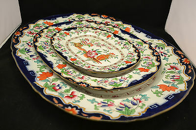 Antique 1840 Early MINTON POONAH Platter Set of (3) Graduated  ND2041-2043