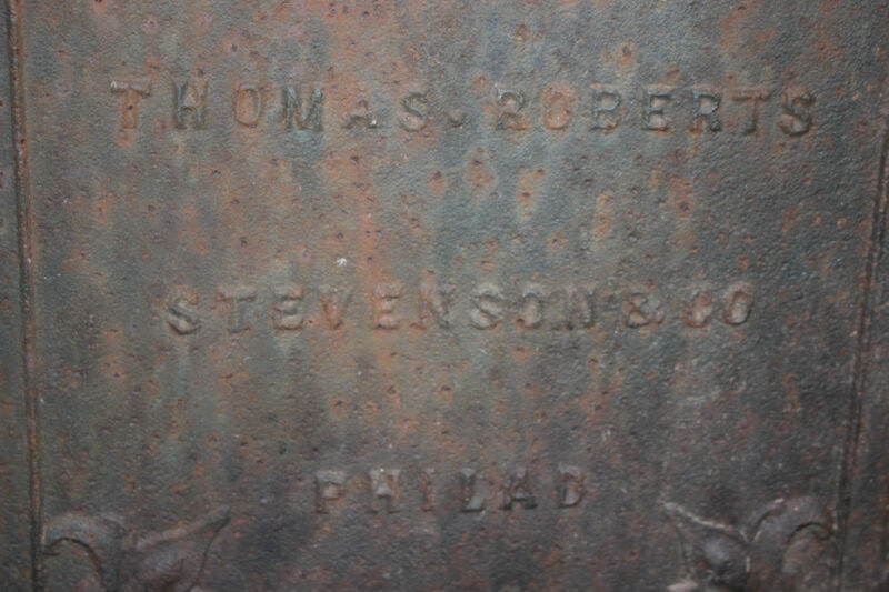 Antique Thomas Roberts Stevenson & Co. Philadelphia Cast Iron Coal Stove Front