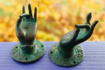 Vintage Buddha Hand Mudra Door Handle Knob Cast  Verdigris Bronze Bali Art Set 2